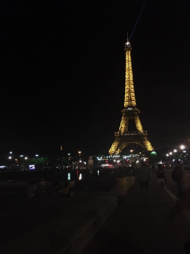 the eiffel tower, atnight.